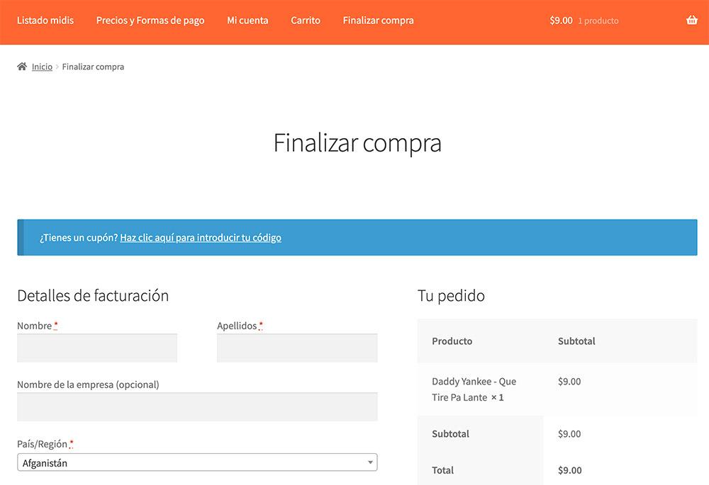 Formulario de contacto antes de finalizar la compra de elmidi.com